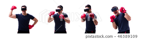 Male boxer wearing virtual reality VR glasses isolated on white  46389109