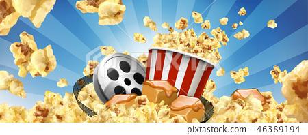 Caramel popcorn banner ads 46389194