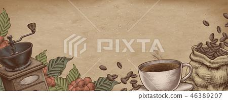 Coffee woodcut banner 46389207