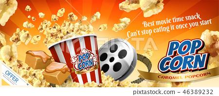 Caramel popcorn banner ads 46389232