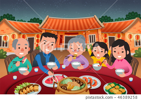 Traditional reunion dinner 46389258