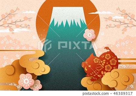 Japanese new year card 46389317