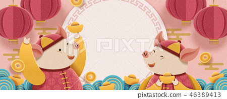 Lunar year piggy design 46389413