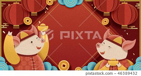 Lunar year piggy design 46389432