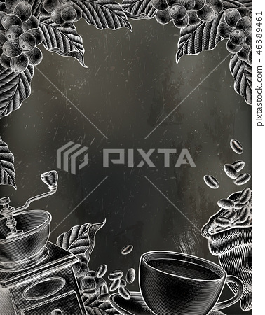 Coffee woodcut poster 46389461