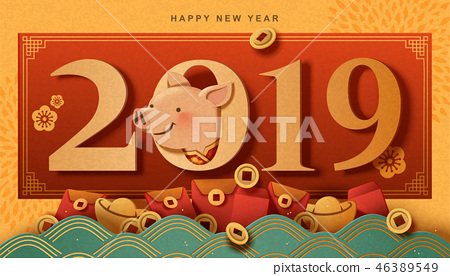 Year of the pig greeting card 46389549