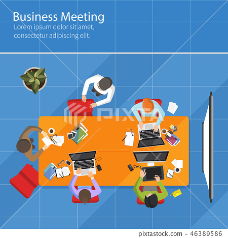 Business Meeting top view, office, teamwork 46389586