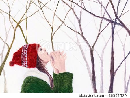 Winter walk way woman 46391520