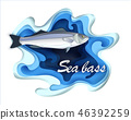 Commercial fish sebas, seafood in a fashionable paper style volumetric layers 46392259