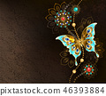 Brown background with turquoise butterfly 46393884