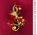 Musical key with roses 46393887