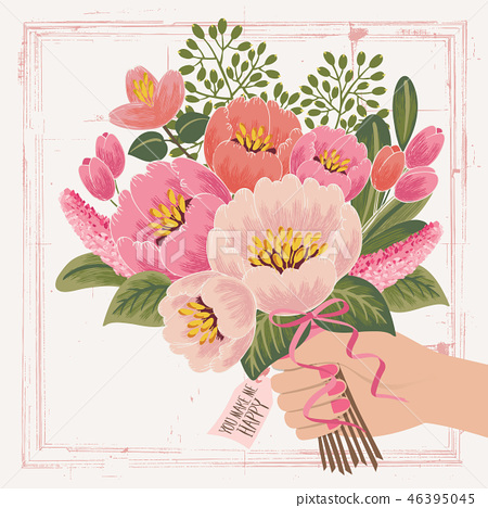Illustration of a hand holding a bouquet 46395045