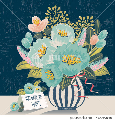 Vector illustration of flowers in a vase 46395046
