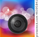 Camera lens over bokeh background 46395841