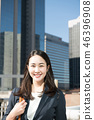 Young Japanese Woman Wearing Business Woman Suit in Office District 46396908