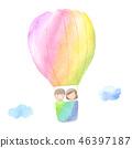氣球兒童水彩插圖 46397187