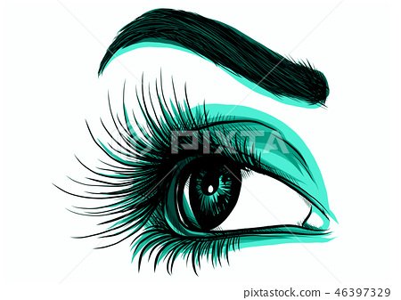 Eye on white background. Woman eye. The eye logo. Eyes art. Human face 46397329