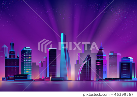 Vector neon megapolis background with shining sun 46399367