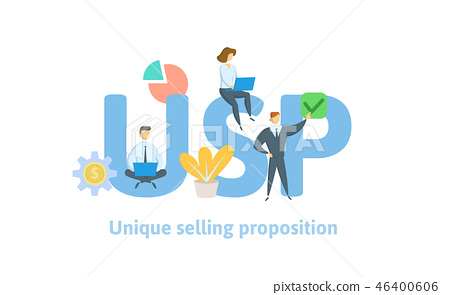 USP, unique selling proposition. Concept with keywords, letters, and icons. Flat vector illustration 46400606