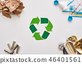 Four types of garbage. Batteries, canns, paper and plastic in the corners 46401561
