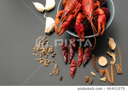 Crayfish red, Baby Lobster with herb for stir fry 46401879