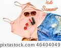 Hello summer concept. Female cloth and accessory 46404049