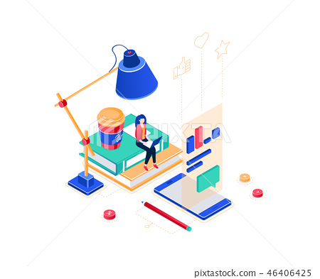 Freelance worker - modern colorful isometric vector illustration 46406425