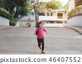 Young asian cute kid  running into school  46407552