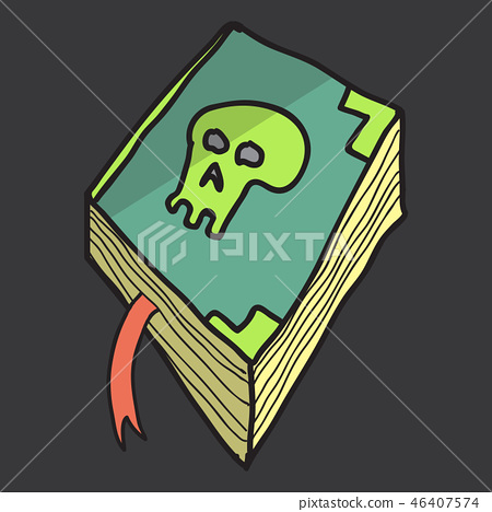 Ancient magic book with alchemy recipes and mystic spells and enchantments, dusty old pages and 46407574