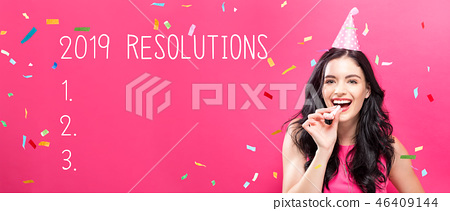 2019 Resolutions with young woman with party theme 46409144