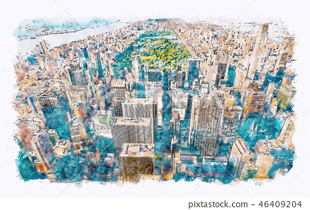 Aerial view of Central Park, NYC 46409204