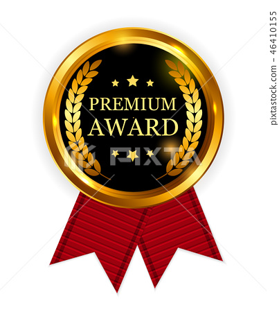 Premium Award Gold Medal with Red Ribbon.  46410155