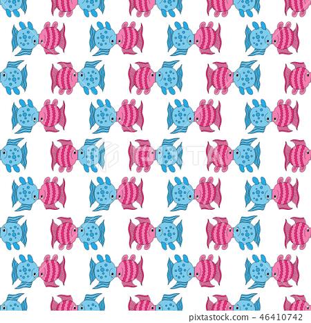 Blue pink funny fish art seamless pattern 46410742
