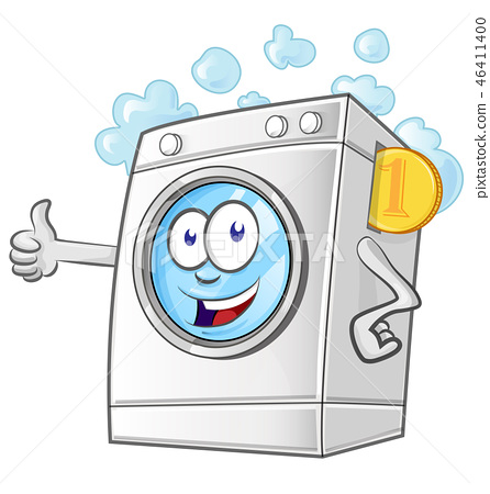Laundry service cartoon with coin 46411400