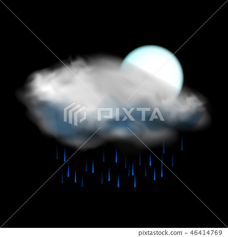 Moon and cloud and rain weather icon 46414769
