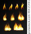 Realistic fire flames set 46415491