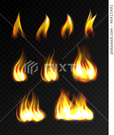 Realistic fire flames set 46415491