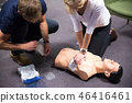 First aid cardiopulmonary resuscitation course using automated external defibrillator device, AED. 46416461