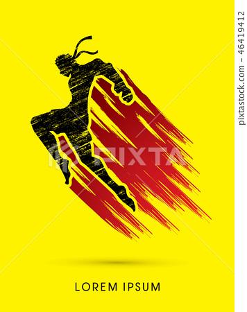 Muay Thai Fighting graphic vector. 46419412