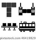 기차 역에서 개찰구 벤치 점자 블록 일러스트 아이콘 46419829