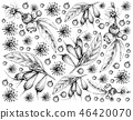 Hand Drawn Wallpaper of Tropical Fruits Background 46420070