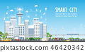 Smart city on urban landscape with different icons 46420342