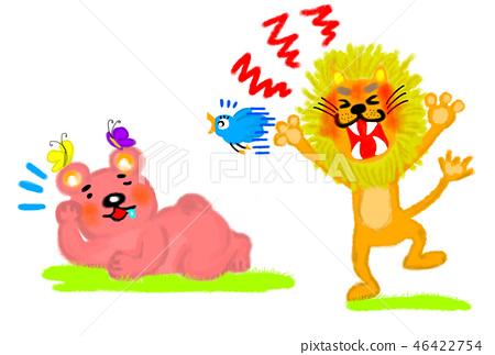 一隻漫步的獅子和一隻悠閒熊的例證圖像。 46422754