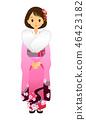 분홍색 기모노를 입은 여성 46423182