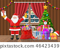 Santa in room with christmas tree and gifts. 46423439