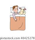 Boy sleeping with a dog 46425278