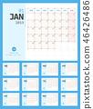 Calendar 2019 Planner Design. Starts Monday. 46426486