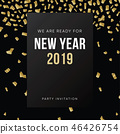 Happy New Year 2019 greeting card, invitation. Party club poster with falling golden confetti and 46426754