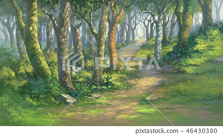 fantasy forest background digital painting 46430380