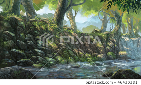 digital painting river in forest background 46430381